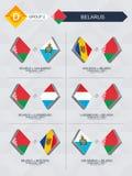 Alle spelen van Wit-Rusland in de liga van voetbalnaties stock illustratie