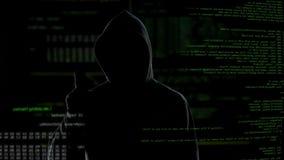 Alle Systeme betrieblich, erfolgreicher zerhackender Versuch, anonymer Cyberattack stock video footage