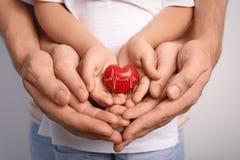 Alle Typen Versicherung Glückliche Familie, die rotes Herz hält lizenzfreies stockfoto