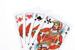 Alle vier Hefbomen van het kaartspel stock foto