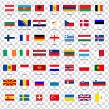 Alle vlaggen van de landen van de Europese Unie Lijst van alle vlaggen van Europese landen met inschrijvingen en originele propor royalty-vrije illustratie
