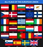 Alle vlaggen van de landen van de Europese Unie Vlakke stijl Stock Afbeeldingen