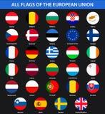 Alle vlaggen van de landen van de Europese Unie Vlakke stijl Royalty-vrije Stock Foto's