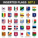 Alle vlaggen van wereldreeks 1 Opgenomen en het drijven kleverig notaontwerp 1/8 Royalty-vrije Stock Afbeelding
