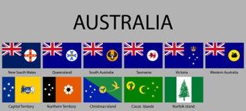 alle Vlaggenstaten van Australië royalty-vrije illustratie