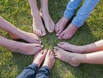 Alle voeten samen Royalty-vrije Stock Afbeelding