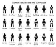 Alle vrouwenzwempakken en swimwear ontwerpen vector illustratie