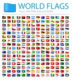 Alle Wereldvlaggen - Nieuwe Extra Lijst van Landen en Gebieden - Vectormarkerings Vlakke Pictogrammen stock illustratie