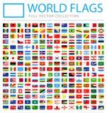 Alle Wereldvlaggen - Nieuwe Extra Lijst van Landen en Gebieden - Vectorrechthoek Vlakke Pictogrammen stock illustratie
