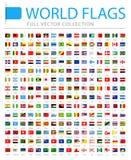 Alle Wereldvlaggen - Nieuwe Extra Lijst van Landen en Gebieden - Vectorreferentie Vlakke Pictogrammen stock illustratie