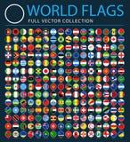 Alle Wereldvlaggen op Zwarte Achtergrond - Nieuwe Extra Lijst van Landen en Gebieden - Vector Ronde Vlakke Pictogrammen royalty-vrije illustratie