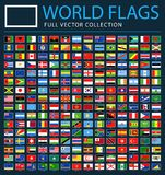 Alle Wereldvlaggen op Zwarte Achtergrond - Nieuwe Extra Lijst van Landen en Gebieden - Vectorrechthoek Vlakke Pictogrammen vector illustratie