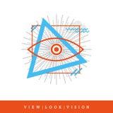 Alle-ziend Oog, Mening - kijk - Visie Vlakke Stijl en Dun Lijnpictogram, Vectorillustratie royalty-vrije illustratie