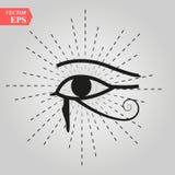 Alle-ziend Oog van God het Oog van Voorzienigheidsoog van Alwetendheid Lichtgevende Deltaoculus Dei Oud mystiek sacral symbool va vector illustratie