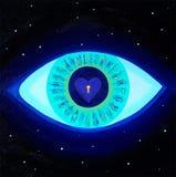 Alle-ziet oog, liefde, verlichting, zeer belangrijk aan het hart, kosmos, heelal, sterren, god, medetation, beeld, canvasolie royalty-vrije illustratie