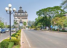 Allee in Laos Lizenzfreies Stockbild
