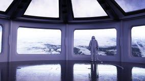 Alleen astronaut in futuristisch binnenland Sc.i-de ruimtemening van FI van de aarde het 3d teruggeven Stock Afbeelding