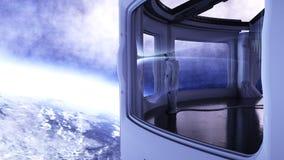 Alleen astronaut in futuristisch binnenland Sc.i-de ruimtemening van FI van de aarde het 3d teruggeven Royalty-vrije Stock Foto's