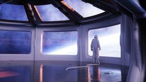 Alleen astronaut in futuristisch binnenland Sc.i-de ruimtemening van FI van de aarde het 3d teruggeven Royalty-vrije Stock Foto