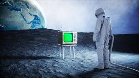 Alleen astronaut op oude TV van het maanhorloge Het volgen van uw inhoud het 3d teruggeven Stock Afbeelding