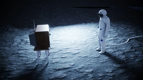 Alleen astronaut op oude TV van het maanhorloge Het volgen van uw inhoud het 3d teruggeven Royalty-vrije Stock Fotografie