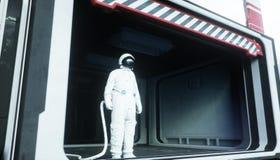 Alleen astronaut in ruimte Sc.i-de futuristische gang van FI mening van de aarde het 3d teruggeven Stock Foto's