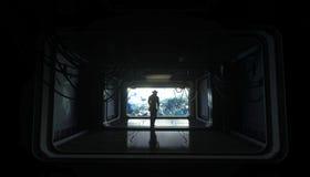 Alleen astronaut in ruimte Sc.i-de futuristische gang van FI mening van de aarde het 3d teruggeven Stock Afbeeldingen