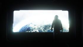 Alleen astronaut in ruimte Sc.i-de futuristische gang van FI mening van de aarde het 3d teruggeven Stock Afbeelding