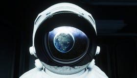Alleen astronaut in ruimte Sc.i-de futuristische gang van FI mening van de aarde het 3d teruggeven Royalty-vrije Stock Afbeeldingen