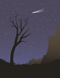 Alleen boom bij nacht Royalty-vrije Stock Foto's