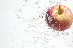 Alleen een appel in water. Stock Afbeeldingen