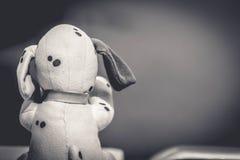 Alleen hondstuk speelgoed zitting op zwarte achtergrond Stock Foto