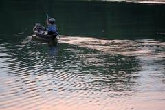 Alleen op de rivier Royalty-vrije Stock Fotografie