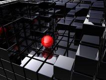 Alleen op zwarte kubussen Stock Afbeelding