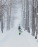 Alleen Snowboarder Royalty-vrije Stock Afbeelding