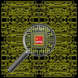 Alleged Chinese motherboard spy chip stock illustration