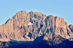 Front view of the Monte Civetta mountain which is part of the Dolomites, European Alps. Alleghe, Italy - August 27, 2018: front view of the Monte Civetta royalty free stock images