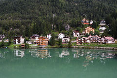 Alleghe Lake Houses Stock Images