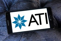 Allegheny Technologies company logo. Logo of Allegheny Technologies company on samsung mobile. Allegheny Technologies Incorporated ATI is a specialty metals Royalty Free Stock Images