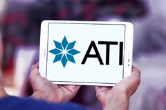 Allegheny Technologies company logo. Logo of Allegheny Technologies company on samsung tablet. Allegheny Technologies Incorporated ATI is a specialty metals Royalty Free Stock Image