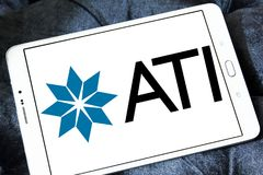 Allegheny Technologies company logo. Logo of Allegheny Technologies company on samsung tablet . Allegheny Technologies Incorporated ATI is a specialty metals Royalty Free Stock Images