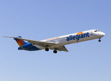 Allegiant Air. Los Angeles, USA - June 6, 2014: An airplane of Allegiant Air landing at Los Angeles International Airport Stock Photography