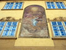 Allegorical Mural on Historical Building, Prague Stock Image