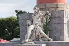 Allegorical sculpture of the Dnieper River at the base of the rostral column in St. Petersburg. Allegorical sculpture of the Dnieper River at the base of the Royalty Free Stock Images