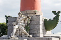 Allegorical sculpture of the Dnieper River and rostra at the base of the rostral column in St. Petersburg, Russia Royalty Free Stock Photography