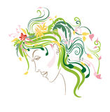 Allegorical Spring. Female face representing allegory of spring and youth royalty free illustration