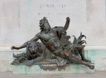 Allegorical statue of the Rhone river. Under the statue of Louis XIV. Bellecour square, Lyon, France Stock Photos