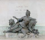 Allegorical statue of the Saone river. Under the statue of Louis XIV. Bellecour square, Lyon, France Royalty Free Stock Photo