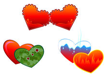 Allegorical symbols of hearts Stock Images