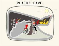 Allegory of the Cave - Plato. From Plato`s most famous book, The Republic - All they can see is the wall of the cave, but Royalty Free Stock Photography